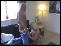 sexy muscle daddy receives bj from a lucky blond