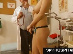 chesty brunette doctor check-up voyeur video