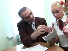 teacher is getting soaked oral-job