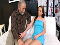 glamorous chick is ready to engulf dick of old man