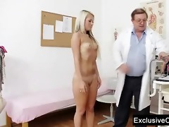 old doctor checks young blond beauty venus fur pie